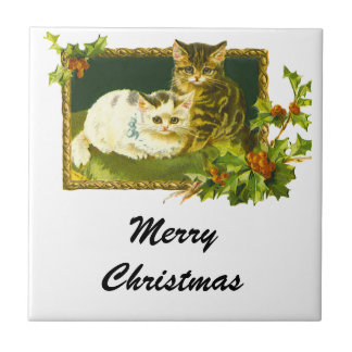 Christmas Kittens Small Square Tile