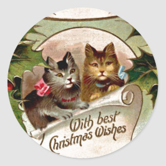 Christmas Kittens - Vintage Christmas Design Classic Round Sticker