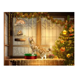 Christmas kitties and mouse postcard
