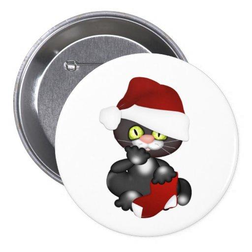 Christmas Kitty Button