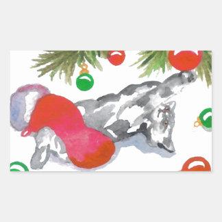 Christmas Kitty Cat Tree Decorations Holiday Art Rectangular Sticker