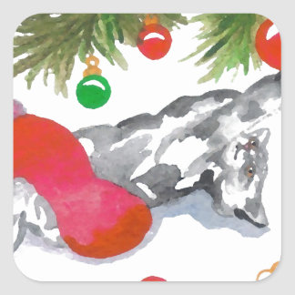 Christmas Kitty Cat Tree Decorations Holiday Fun Square Sticker