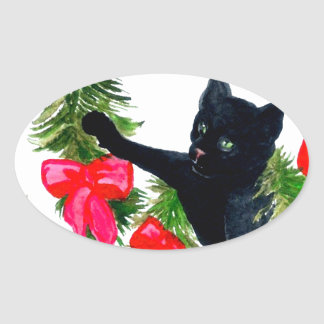Christmas Kitty Cat Tree Decorations Holiday Fun Oval Sticker