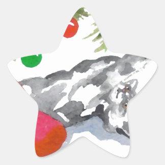 Christmas Kitty Cat Tree Holiday Star Stickers