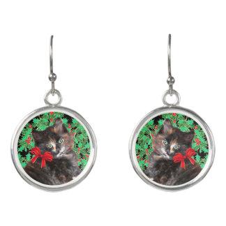 """Christmas Kitty"" Drop Earrings"