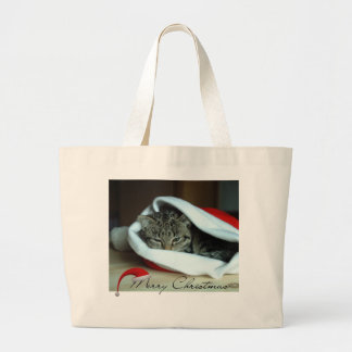 Christmas kitty large tote bag