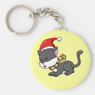 """Christmas Kitty """"Lucy"""" Button Keychain"""