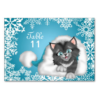 Christmas Kitty Table number card