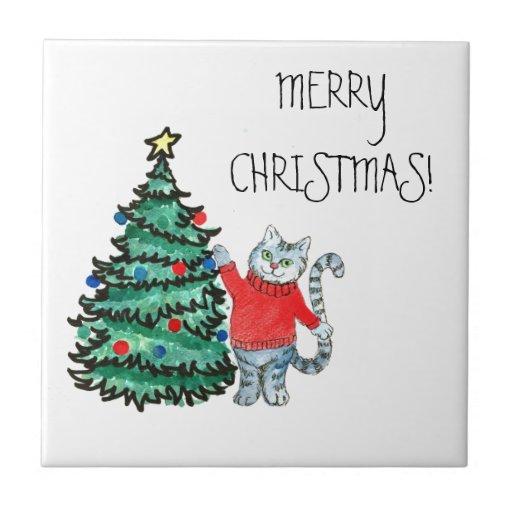 Christmas kitty ceramic tile