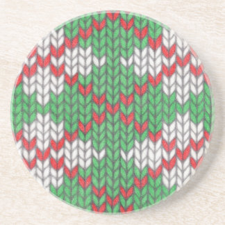 Christmas Knit Argyle Sandstone Drink Coaster