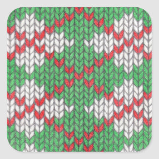 Christmas Knit Argyle Square Stickers