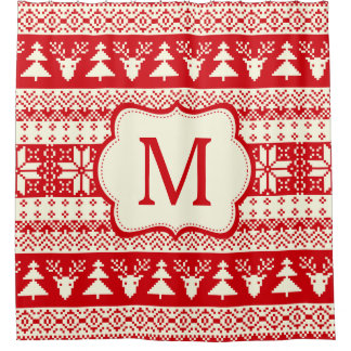 Christmas Knitted Pattern Monogram Initial Shower Curtain