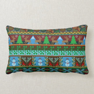 Christmas Knitted Sweater Pattern Reindeer Holiday Lumbar Cushion