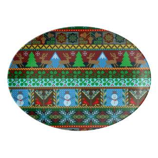 Christmas Knitted Sweater Pattern Reindeer Holiday Porcelain Serving Platter