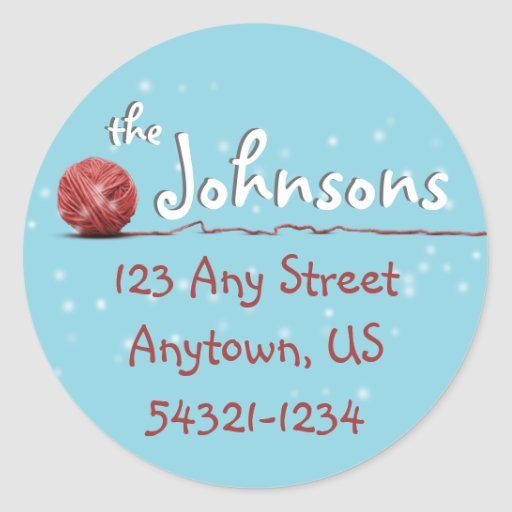 Christmas Knitting Sweater Ball of Yarn Gift Tag Round Sticker