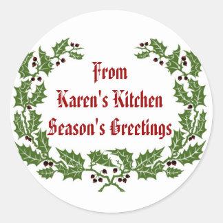 Christmas  Label  Season's Greetings baking, food Round Sticker