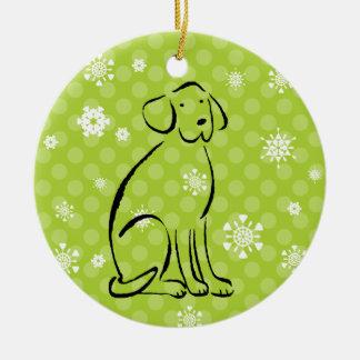 Christmas Labrador Art Add Name Christmas Ornament