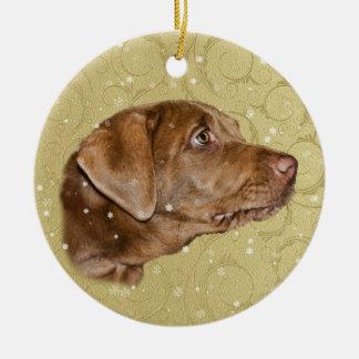 Christmas, Labrador Retriever Dog Round Ceramic Decoration
