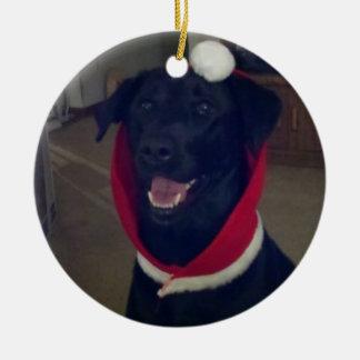 Christmas Labrador Retriever Round Ceramic Decoration