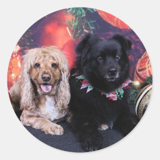 Christmas - Labrador X Cheyanne  Cocker X Sundance Round Sticker