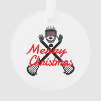 Christmas Lacrosse Cartoon Ornament
