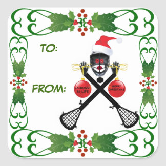 Christmas Lacrosse Gift Tag Square Sticker