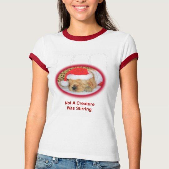 Christmas Ladies Golden Retriever Ringer T-Shirt