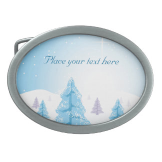 Christmas Landscape Belt Buckle