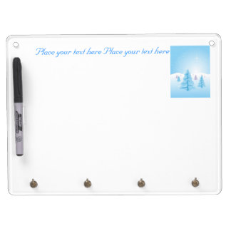 Christmas Landscape Dry Erase Board With Key Ring Holder