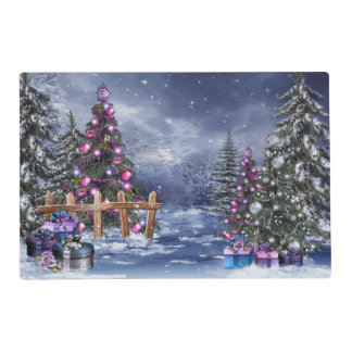 Christmas Landscape Laminated Placemat