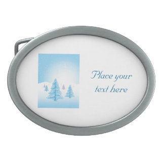 Christmas Landscape Oval Belt Buckles