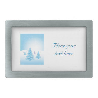 Christmas Landscape Rectangular Belt Buckles