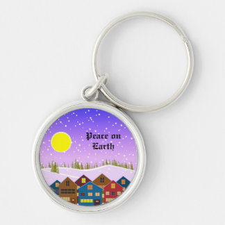 Christmas landscape with houses and snow key chains