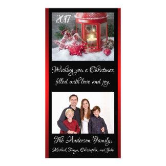 Christmas Lantern Family Photo Card Year Names