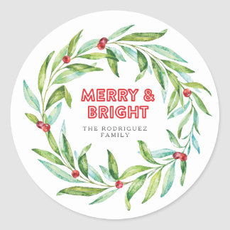 Christmas Laurel Wreath Holiday Stickers
