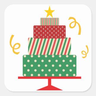 Christmas Layer Cake Square Sticker