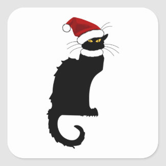 Christmas Le Chat Noir With Santa Hat Square Sticker