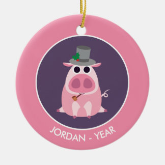 Christmas Leary the Pig Round Ceramic Decoration