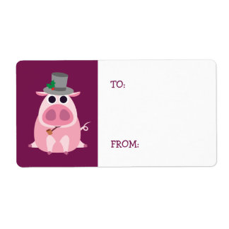 Christmas Leary the Pig Shipping Label