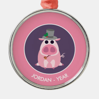 Christmas Leary the Pig Silver-Colored Round Decoration