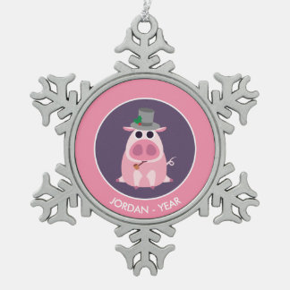 Christmas Leary the Pig Snowflake Pewter Christmas Ornament