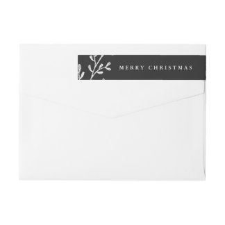 Christmas Leaves | Black and White Wrap Around Label