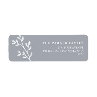 Christmas Leaves | Gray and White Return Address Label