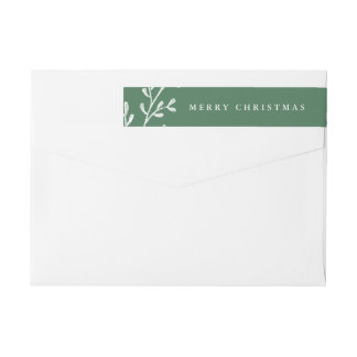 Christmas Leaves | Green and White Wrap Around Label
