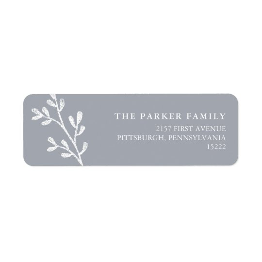 Christmas Leaves | Grey and White Return Address Label