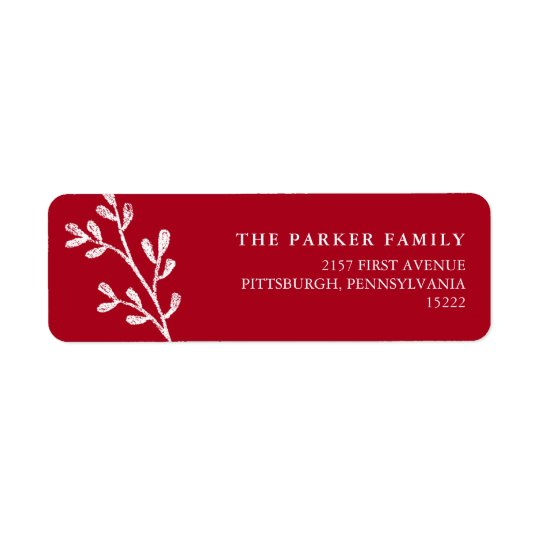 Christmas Leaves | Red and White Return Address Label
