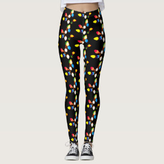 Christmas Leggings with Colored Lights