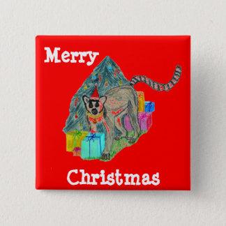 Christmas Lemur 15 Cm Square Badge