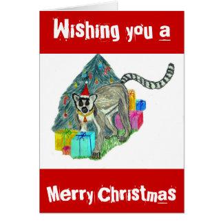 Christmas Lemur Greeting Card