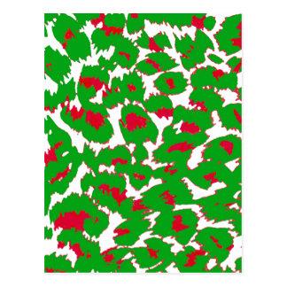 Christmas Leopard Spots Pattern Postcard